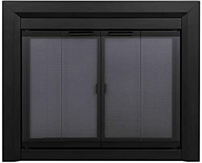 Pleasant Hearth Clairmont Fireplace Glass Door, Medium (CM-3011) , Black from GHP Group