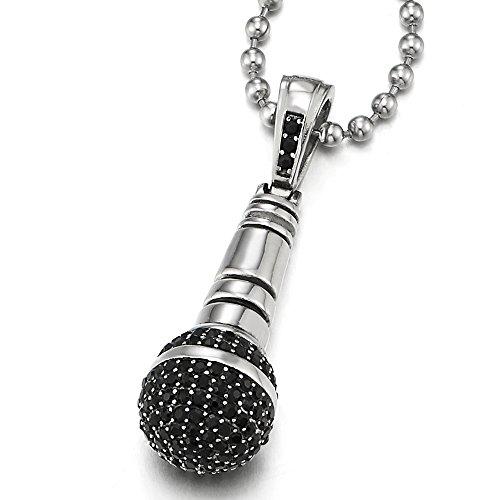 COOLSTEELANDBEYOND Microfono Ciondolo con Nero Zirconi, Collana da Uomo, Acciaio Inossidabile, Palla Catena 60CM