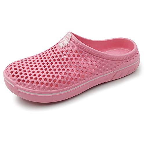 AMOJI Unisex Zuecos Zapatos de jardín Zapatillas de Hombre Zapatos de Goma de plástico Mujeres Damas Caballeros Hombre Mujer Ligero Adulto AM1761 Rosa 44 EU