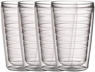 Boston Warehouse Insulated Plastic Tumblers, 16-Ounce, Set of 4, Clear Collection