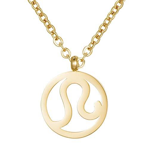 Morella Collar Acero Inoxidable Oro con Colgante Signo del Zodiaco Leo en Bolsa de Terciopelo