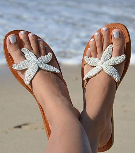 GlobalHandmade Beach Starfish Wedding Beaded Women's Sandals - Women's Handmade Wedding Leather Flip Flops