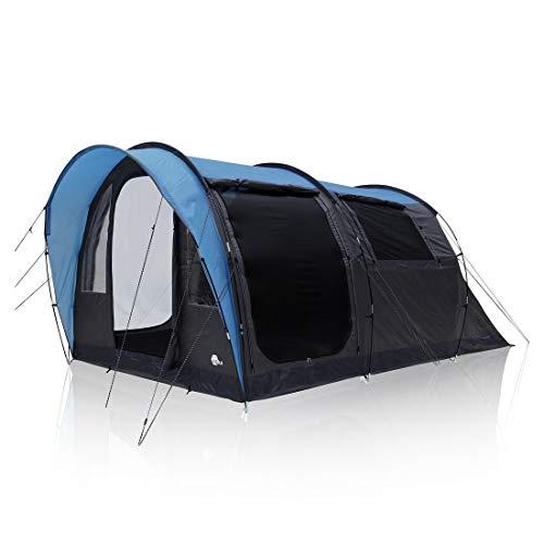 your GEAR tent Bora 4 personen tunneltent familietent stahoogte bodemplaat luifel waterdicht 5000mm UV 50+ bescherming blauw grijs