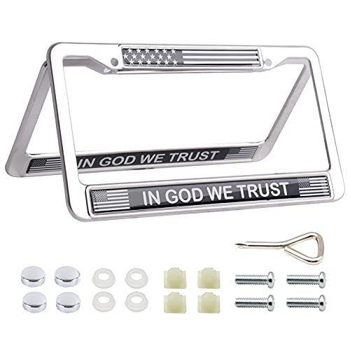 in God we Trust American Flag License Plate Frames - Chrome Stainless Steel Car Tag Frame License Plate Holder (2PCS)