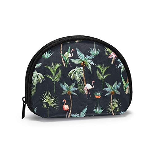Vintage Palm Trees and Flamingos BMX Dirt Bike Ciclyng Coin Purse Change Pouch Wallet Bag For Card Key Lipstick