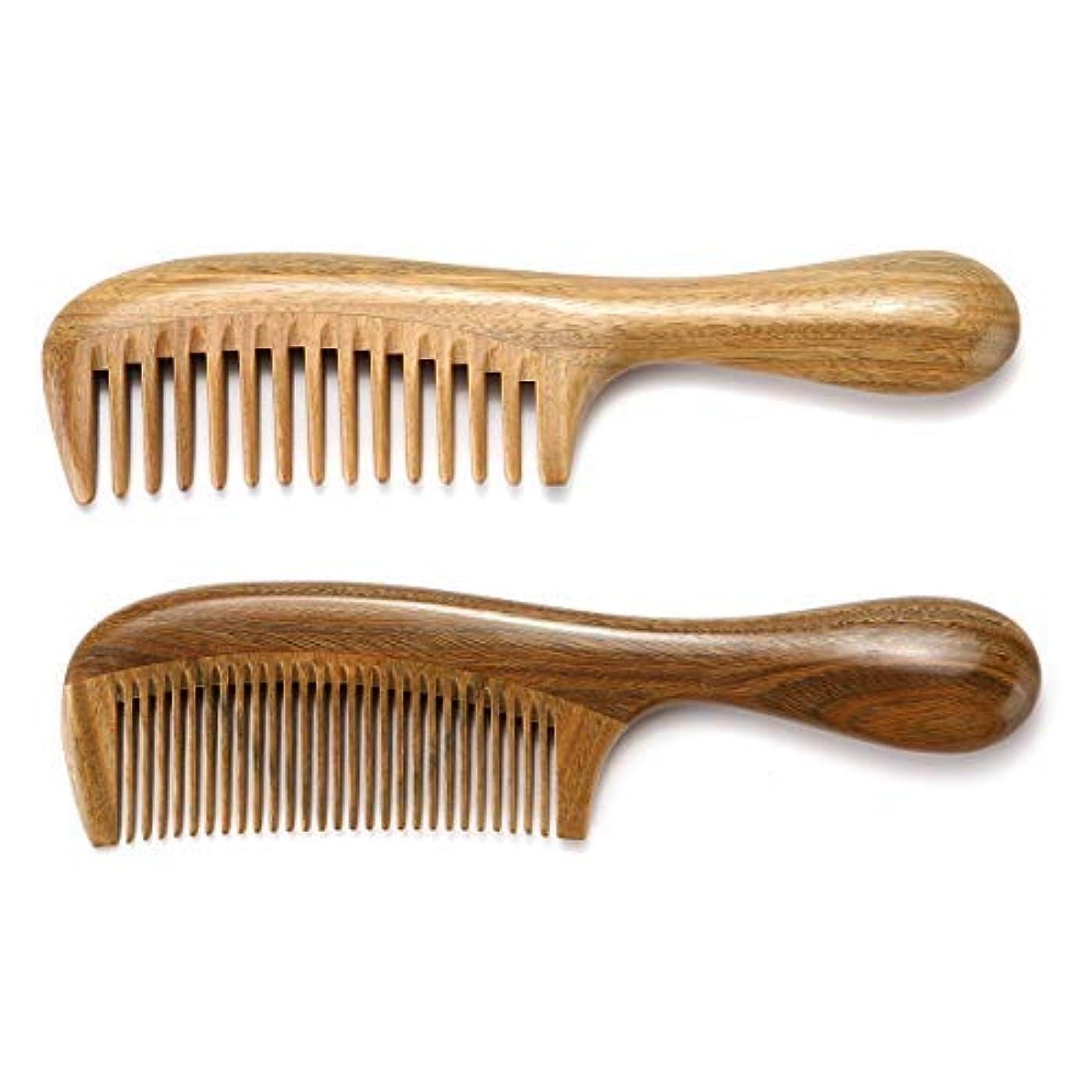 実験的パプアニューギニアみぞれHandmade Wooden Hair Comb Set Gift Box Natural Green Sandalwood Anti-Static Fine & Wide Tooth Hair Combs for Men Women Kids Hairs (2 PACKS) [並行輸入品]