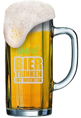 Bierseidl [Minden Seidl 0.5L] mit individueller Gravur [Name] und [Motiv - Bier Trinken Ist Wichtig] - MeinGlas