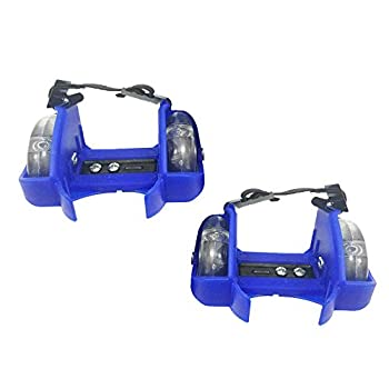 F Fityle Heel Wheel Roller Skates Attachable Shoe Trainer Rollerskate Wheels Pulley for Kids Boys Girls with LED Lights - Blue