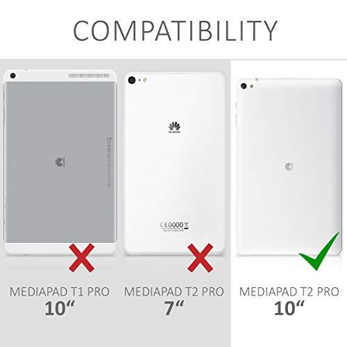 kwmobile Hülle für Huawei MediaPad T2 10.0 Pro - Tabletcover Slim Case Tablet Schutzhülle - Smart Cover Tabletcase Canvas Design Braun - 6