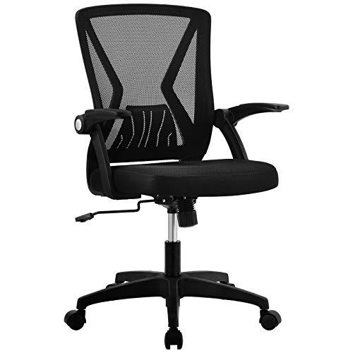 Pannow Silla de oficina de malla ergonómica, silla de escritorio, giratoria para computadora, brazos abatibles con soporte lumbar, altura ajustable, color negro