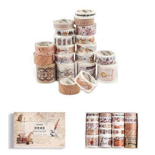 Gloryit 20 piezas Cinta adhesiva decorativa para scrapbooking, Cinta de papel estampada decorativa, Cinta de scrapbooking diario para la decoración de fiestas familiares o empaques de regalos