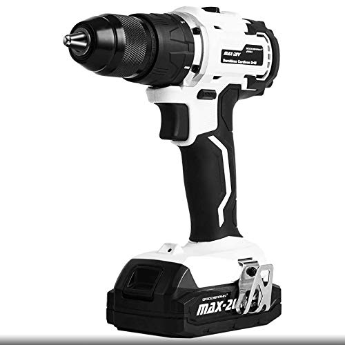 GOODSMANN Electric Cordless Drill Brushless 20V screwdriver 1/2' 1400 RPM Drill Driver with Battery Charger and Tool Box B201-01