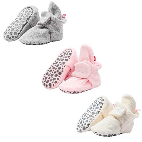 Zutano Cozie Fleece Baby Booties, Unisex Baby Shoes for Infants and Toddlers, 12M, Heather Gray/Baby Pink/Cream