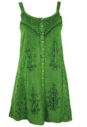 Guru-Shop Besticktes Indisches Kleid, Boho Minikleid, Damen, Grün Design 7, Synthetisch, Size:40, Kurze Kleider Alternative Bekleidung