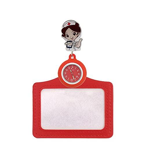 BAIDEFENG Reloj médico de bolsillo, reloj de bolsillo retráctil de dibujos animados, insignia del médico de la enfermera reloj-rojo, colgante reloj de bolsillo colgante