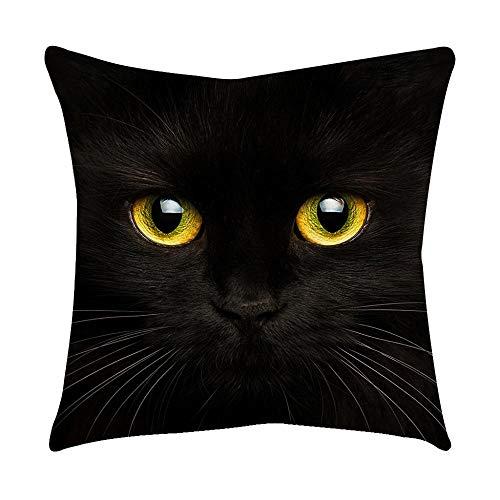 VJGOAL Moda Lindo Negro Ojos de Gato impresión en casa Decorativo Suave sofá cómodo Cojín Cuadrado Funda de Almohada(45_x_45_cm,Negro1)