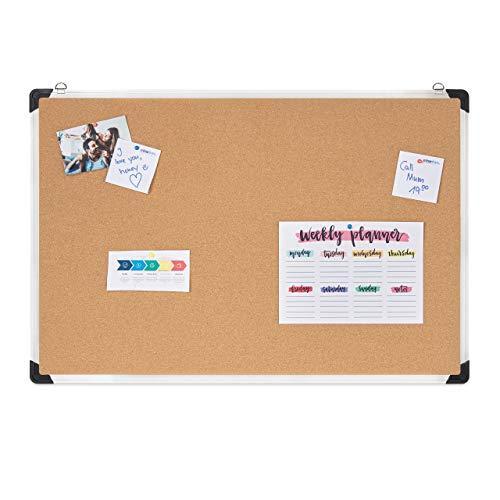 Relaxdays Prikbord van kurk, aluminium frame, flexibele ophangingen, kurkbord voor kantoor, H x B: 60 x 90 cm, zilver/natuur