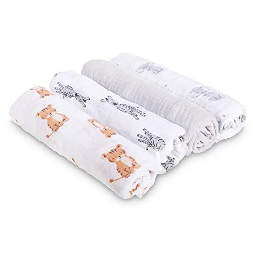aden + anais maxi-langes, mousseline 100% coton, safari babes - 4 pack