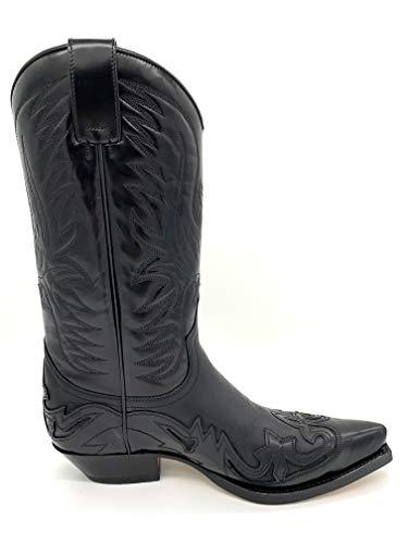 Sendra Stiefel Westernstiefel Cowboystiefel Biker-Boots inkl.original Stiefelknecht und Key Chain (44 EU, Schwarz)
