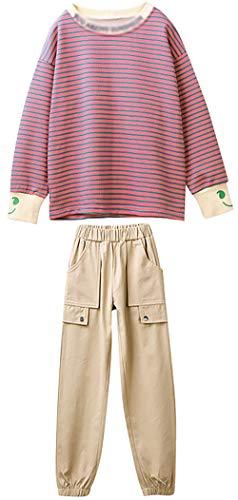ZRFNFMA Trajes de niña de estilo de rayas TopsBig Kids Net Red Sports Trajes casuales adecuados para niños y niñas, fucsia fucsia fucsia - 120 cm