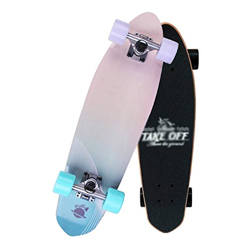 Rindasr Kleine visbord skateboard, esdoorn beginner mannen en vrouwen weg borstel street dance board enkele rocker skateboard auto, klein en draagbaar (68x19cm)