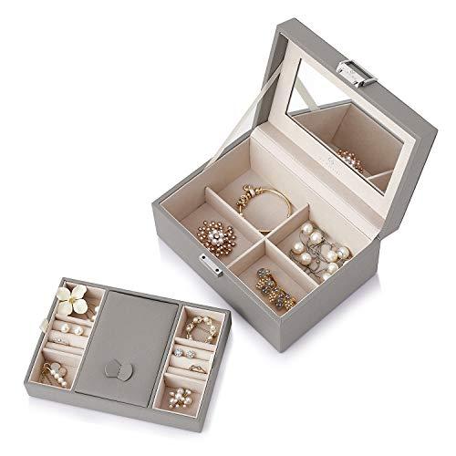 Vlando Modern Jewellery Box Organisers Gift Storage Cases, Large Mirror and 2 Trays for Women Girls Necklaces Earrings Rings Watches Storage (Grey (Lite Version))