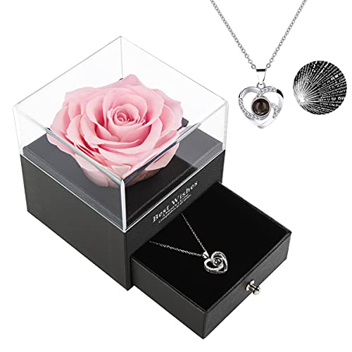 Mothers Day Gifts From Daughter Preserved Real Rose with Heart Love You Necklace in 100 Languages, Best Gift for Mom