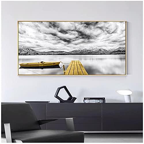 Lefgnmyi Carteles e impresiones de torre de puente de barco amarillo marino imágenes de paisaje para el arte de la pared del hogar para la decoración de la sala de estar-24x32 en sin marco