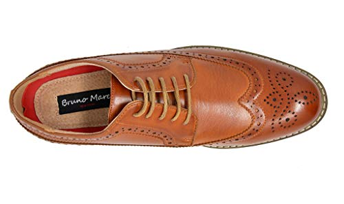 Bruno MARC PRINCE-10 Men's Oxford Modern Classic Brogue Wing-Tip Lace Up Leather Lined Perforated Dress Oxfords Shoes Brown Size 15