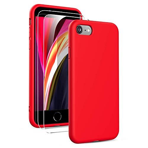 Oududianzi - Coque Compatible avec iPhone SE 2020/7/ 8 avec 2 Pièces Protecteur Décran en Verre Trempé, Housse Silicone Liquide Souple Coque en Caoutchouc Antichoc Ultra-Mince de Couleur Pure- Rouge