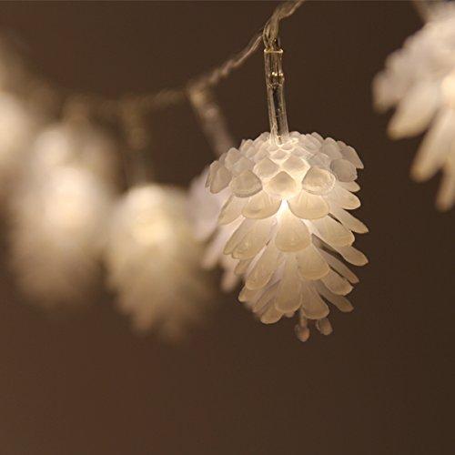 Dealbeta Guirlandes Lumineuses Extérieur Guirlande Lumineuse à Piles, 4 m 40 LED Fleurs à LEDs Pomme de pin .Décoration Pour Noël Fête, Jardin, Mariage Sapin, Terrasse, Maison, Pelouse. (Blanc Chaud)