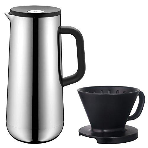 WMF Impulse Isolierkanne Set 2-teilig, Thermoskanne 1,0l mit Kaffeefilter-Aufsatz, für Kaffee oder Tee, Druckverschluss, hält Getränke 24h kalt & warm