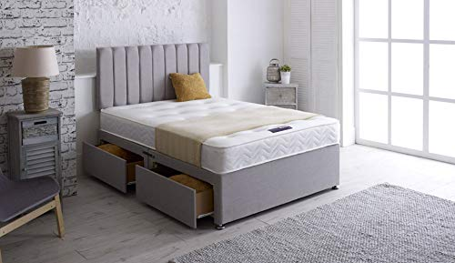 Daniel Beds & Furniture ltd BIANCA Divan Base Complete With Headboard and Memory Foam Mattress (DOUBLE 4ft6)
