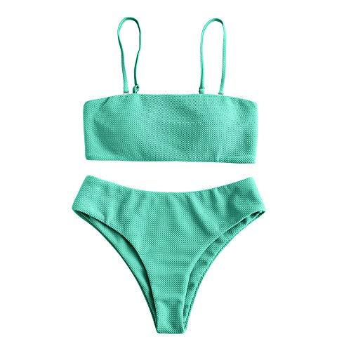 Zaful - Conjunto de bikini con tirantes, acolchado y texturizado para mujer verde claro L