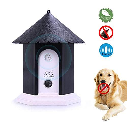 APoony Hund Ultraschall Anti Bellen Repeller mit Hängendem Seil Cute Haus Form Anti-Bellkontrolle Ultraschall-Anti-Bell-Stopp Antibell Trainer Im Freien für Kleine/Mittlere/Große Hunde