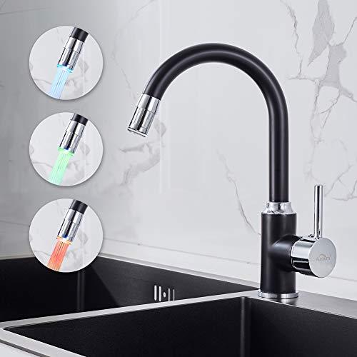 professionnel comparateur Robinet de cuisine Auralum, noir, 3 couleurs LED, robinet de lavabo, laiton chromé… choix