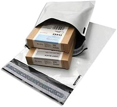 Kikopack®-Lot de 50 enveloppes plastiques blanches opaques 350 x 450 mm, sachets d'expédition 35x45 cm 60 microns. Po...