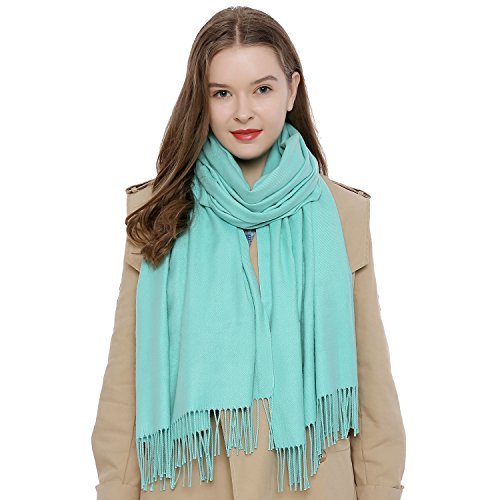 DonDon DonDon Damen Schal einfarbig weich 185 x 65 cm mintgrün