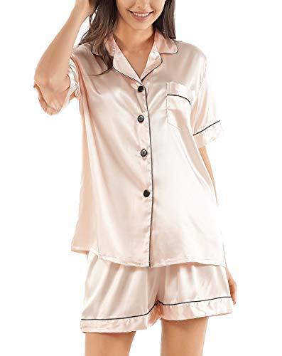 GAESHOW Conjunto de pijama de seda de satén para mujer, de manga corta, con botones, ropa de dormir, ropa de descanso de dos piezas, S-2XL