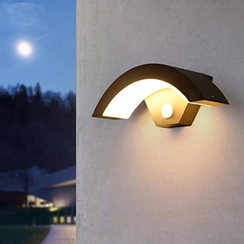LED Apliques de Exterior, Apliques de Pared Impermeable de 18W con Detector de Movimiento,Interruptor automático,Lámpara de Pared de Aluminio en el Pasillo del jardín balcón,Warm Light