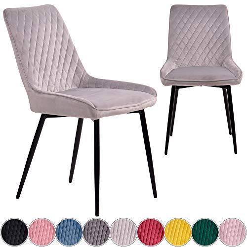 iomangio® 2X Esszimmerstühle 2er Set | Hell Grau Esszimmerstuhl Küchenstuhl | Polsterstuhl Design Stuhl mit Rückenlehne, mit Sitzfläche aus Samt/Stoffbezug | Gestell aus Metall | Samt Stühle