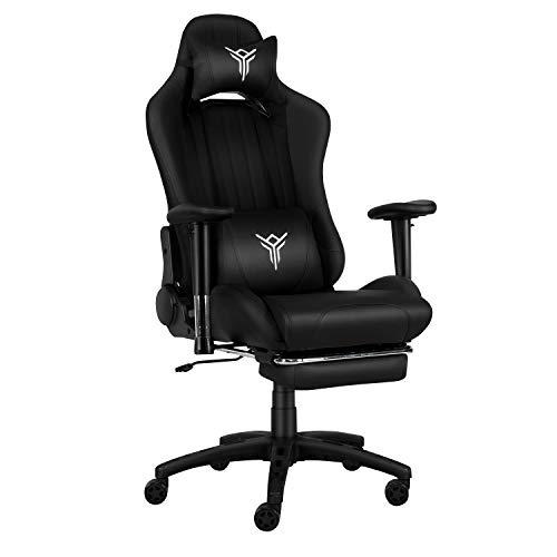 YU YUSING Massage Racing Gaming Stuhl Bürostuhl Ergonomisch Sportsitz höhenverstellbarer Computerstuhl Chefsessel Schreibtischstuhl mit Kopfstützen, verstellbaren Armlehnen und Fußstützen