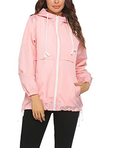 Beyove Raincoat Women Lightweight Waterproof Rain Jackets Active Outdoor Hooded Windbreaker Pink