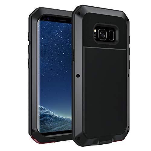 seacosmo S8 Hülle, Tough Armor Aluminium Handyhülle Samsung Galaxy S8 Doppelte Schutz Stoßfest Hülle Outdoor Schutzhülle für S8, Schwarz