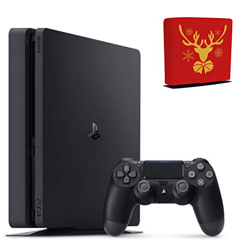 Sony Console Playstation 4-1TB Slim Edition Jet Black - PS4 with 1 DualShock Wireless Controller - Family Holiday Gaming Bundle - iPuzzle Red Reindeer Dust Cover for PS4