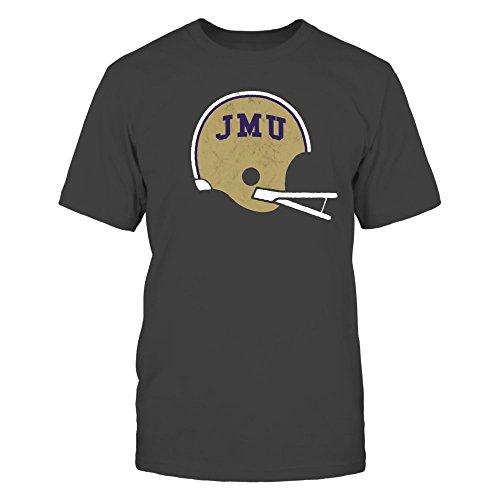 FanPrint James Madison Dukes T-Shirt - Retro Old School JMU Football Helmet - Vintage Distressed Design - Premium Men