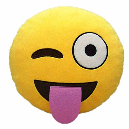 Emoji Emoticono Cojín Almohada Redonda Emoticon Peluche Bordado Sonriente (Emoji 5)