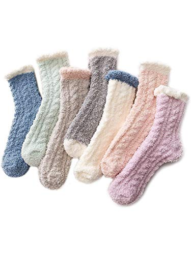 Century Star Women's Warm Super Soft Slipper Socks Microfiber Fuzzy Fluffy Cozy 3-8 Pairs Christmas Gift Home Socks (7 Pairs Solid Color Prime 16)