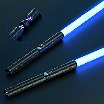 JVMU Lightsaber Rechargeable Cosplay RGB 2 pcs connectable 2-in-1 Lightsaber 7 RGB Color Advanced Alloy hilt Lightsaber with 3 Sound Modes Halloween Easter Christmas Decoration  Black