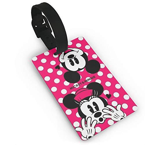 DNBCJJ Etiquetas de equipaje para maletas Minnie Mickey Mouse etiqueta de equipaje, con nombre ID maleta para mujeres, hombres, niños, accesorios de viaje